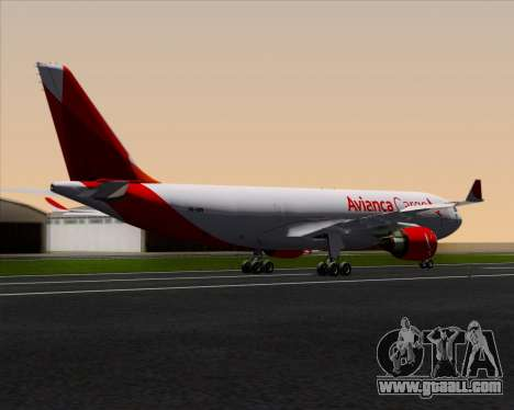 Airbus A330-243F Avianca Cargo for GTA San Andreas back left view