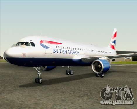 Airbus A320-232 British Airways for GTA San Andreas upper view