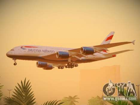 Airbus A380-800 British Airways for GTA San Andreas back view