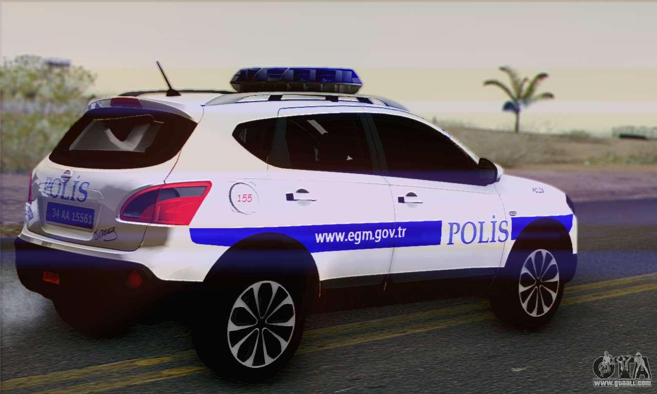 Nissan Qashqai TR POLICE for GTA San Andreas left view