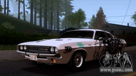 Dodge Challenger 426 Hemi (JS23) 1970 (HQLM) for GTA San Andreas upper view