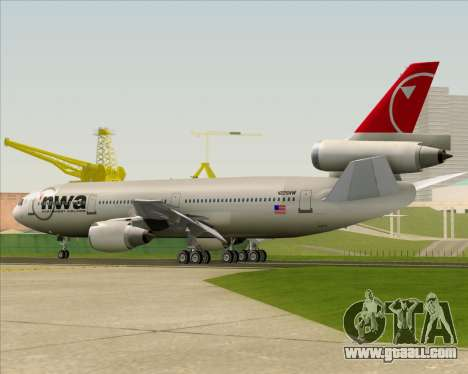 McDonnell Douglas DC-10-30 Northwest Airlines for GTA San Andreas bottom view