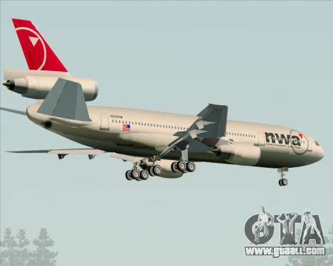 McDonnell Douglas DC-10-30 Northwest Airlines for GTA San Andreas right view