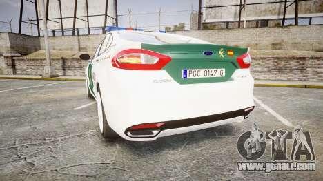 Ford Mondeo 2014 Guardia Civil Cops [ELS] for GTA 4 back left view