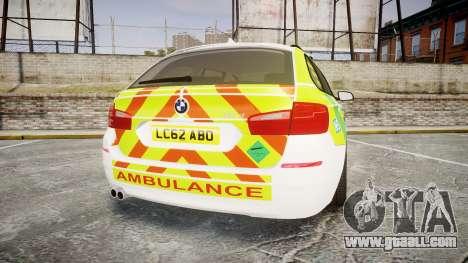 BMW 530d F11 Ambulance [ELS] for GTA 4 back left view