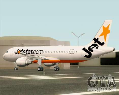 Airbus A320-200 Jetstar Airways for GTA San Andreas upper view