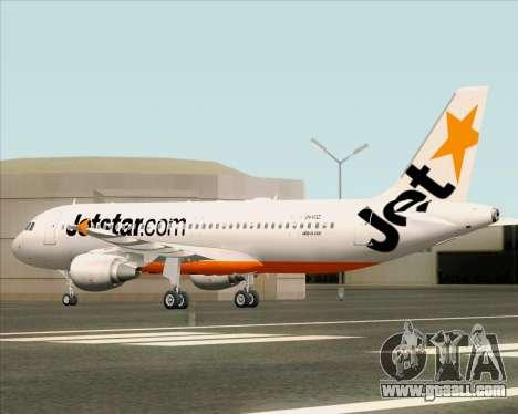 Airbus A320-200 Jetstar Airways for GTA San Andreas upper view