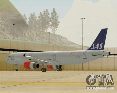 Airbus A321-200 Scandinavian Airlines System for GTA San Andreas back left view