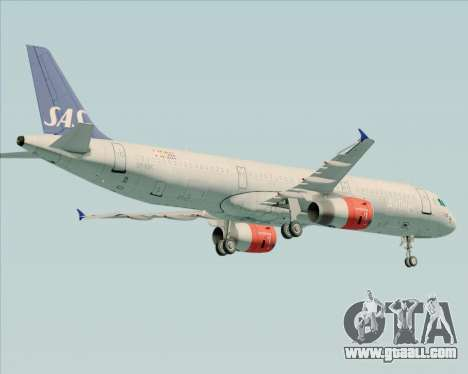 Airbus A321-200 Scandinavian Airlines System for GTA San Andreas back view