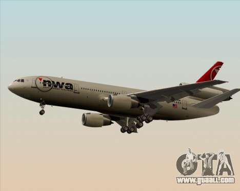 McDonnell Douglas DC-10-30 Northwest Airlines for GTA San Andreas back left view