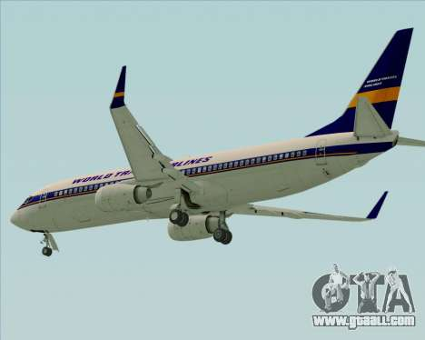 Boeing 737-800 World Travel Airlines (WTA) for GTA San Andreas back left view