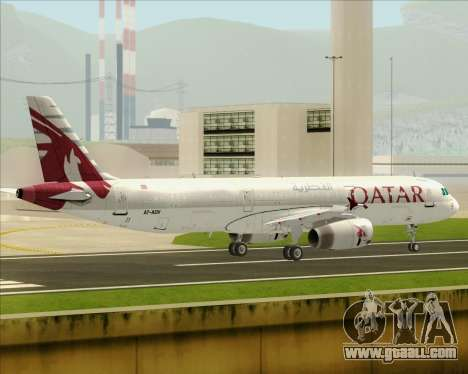 Airbus A321-200 Qatar Airways for GTA San Andreas back left view