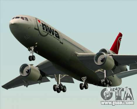 McDonnell Douglas DC-10-30 Northwest Airlines for GTA San Andreas back view