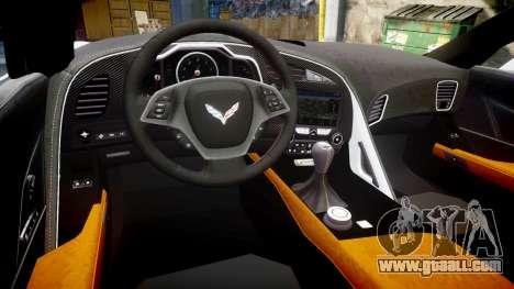 Chevrolet Corvette Z06 2015 TireMi3 for GTA 4 inner view