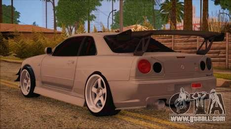 Nissan Skyline R34 GTR V-Spec 2 for GTA San Andreas left view