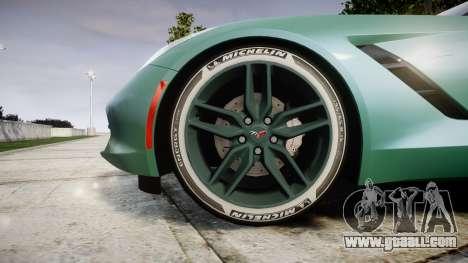 Chevrolet Corvette C7 Stingray 2014 v2.0 TireMi3 for GTA 4 back view