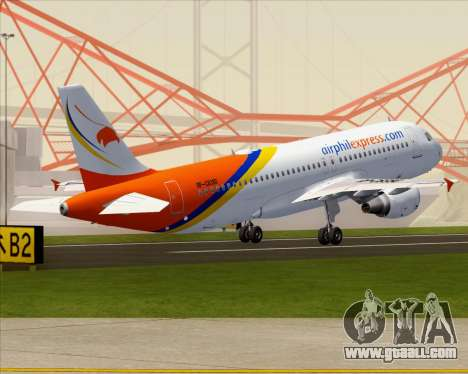 Airbus A320-200 Airphil Express for GTA San Andreas bottom view
