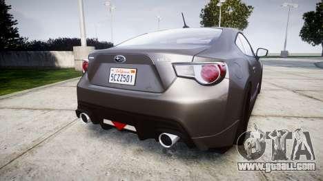 Subaru BRZ 2011 for GTA 4 back left view