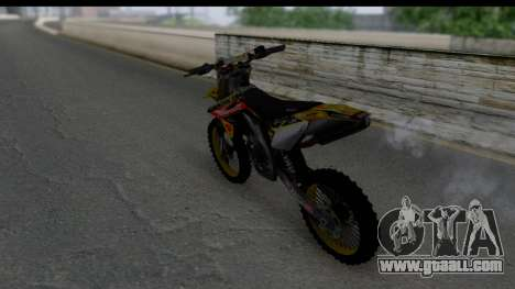 Suzuki RM-Z 450 for GTA San Andreas back left view