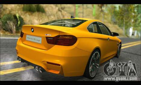 BMW M4 F80 Coupe 1.0 2014 for GTA San Andreas back view