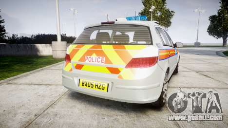 Vauxhall Astra 2005 Police [ELS] Britax for GTA 4 back left view