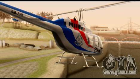 Malaysian Polis Helicopter Eurocopter Squirrel for GTA San Andreas back left view