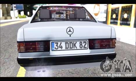 Mercedes Bad-Benz 190E (34 DDK 82) for GTA San Andreas back view