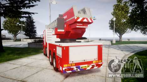 Scania R580 Dutch Fireladder [ELS] for GTA 4 back left view