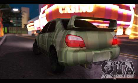 Subaru Impreza WRX Camo for GTA San Andreas back left view