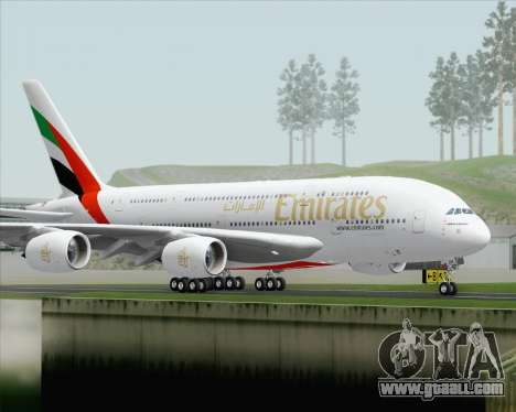 Airbus A380-800 Emirates (A6-EDH) for GTA San Andreas right view