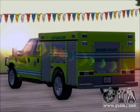 Ford F350 XLT Super Duty MDFD Batalion Chief 12 for GTA San Andreas back view