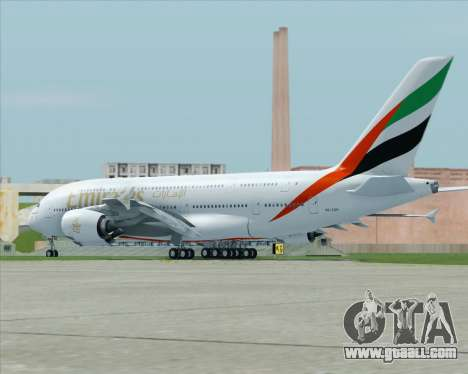 Airbus A380-800 Emirates (A6-EDH) for GTA San Andreas back left view