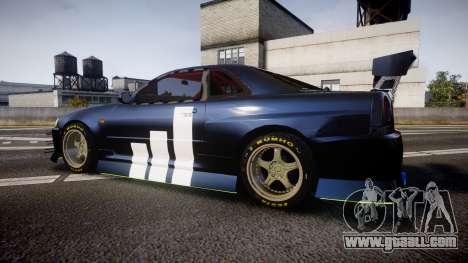 Nissan Skyline R34 GT-R Drift for GTA 4 left view
