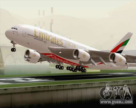Airbus A380-800 Emirates (A6-EDH) for GTA San Andreas side view
