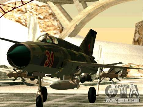 MiG 21 the Soviet air force for GTA San Andreas left view
