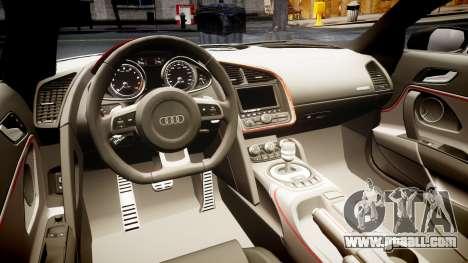 Audi R8 E-Tron 2014 dual tone for GTA 4 inner view