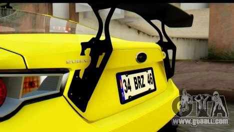 Subaru BRZ 2013 for GTA San Andreas inner view