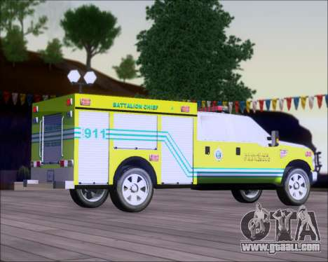 Ford F350 XLT Super Duty MDFD Batalion Chief 12 for GTA San Andreas back left view