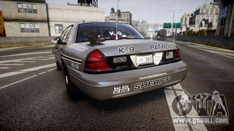 Ford Crown Victoria Sheriff K-9 Unit [ELS] pushe for GTA 4 back left view