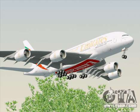 Airbus A380-800 Emirates (A6-EDH) for GTA San Andreas back view