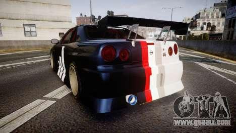 Nissan Skyline R34 GT-R Drift for GTA 4 back left view