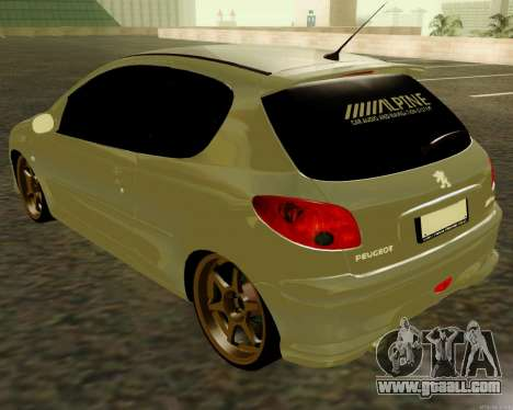 Peugeot 206 Street Racer Tuning for GTA San Andreas back left view
