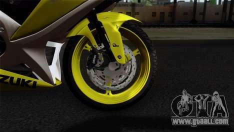 Suzuki GSX-R 2015 Yellow & White for GTA San Andreas back left view