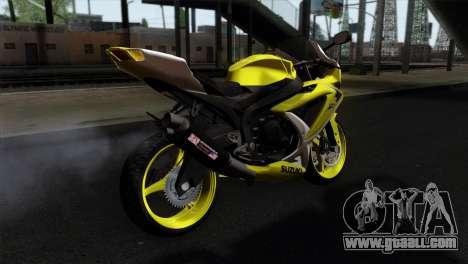 Suzuki GSX-R 2015 Yellow & White for GTA San Andreas left view