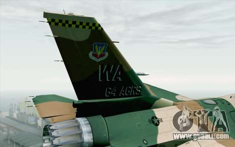 F-16C Fighting Falcon Aggressor 272 for GTA San Andreas back left view