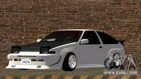 Toyota AE86 for GTA San Andreas back left view