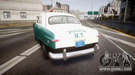 Ford Custom Deluxe Fordor 1949 New York Police for GTA 4 back left view