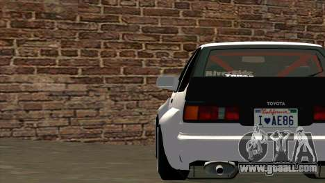 Toyota AE86 for GTA San Andreas upper view