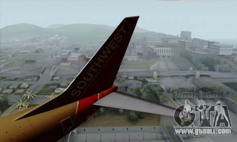 Boeing 737-800 Southwest Gold for GTA San Andreas back left view