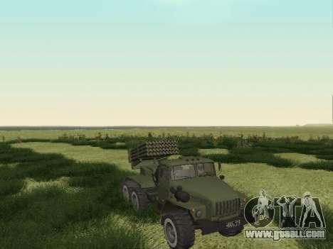 Ural 375 Grad MLRS for GTA San Andreas back left view